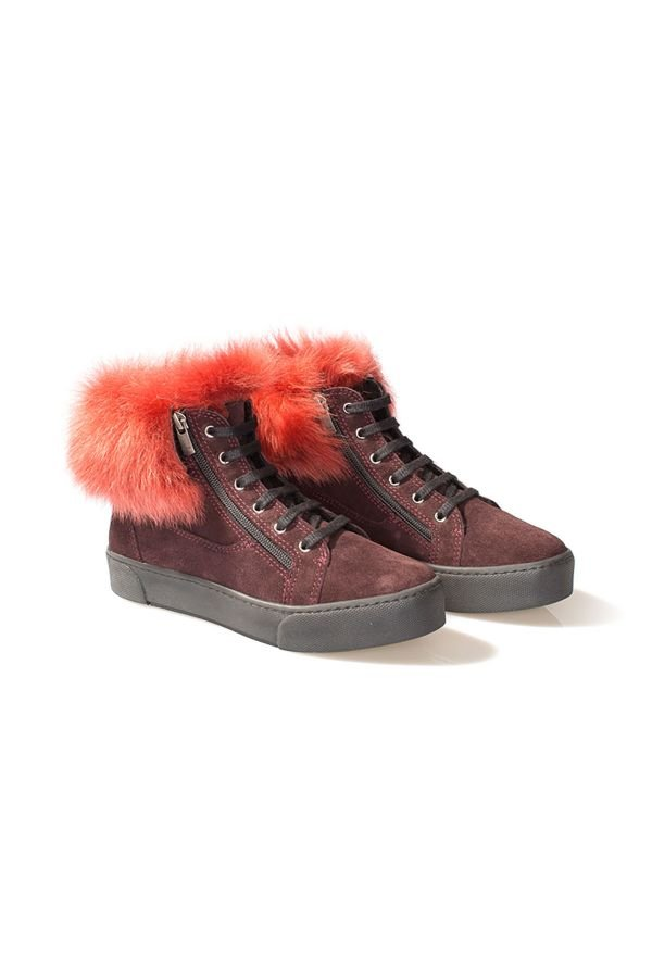 Pegia Женские Ботинки Из Натуральной Замши Украшенные Мехом Тоскана Бордовый