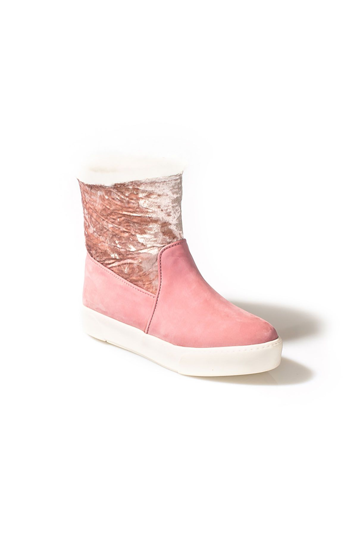 Pegia Velvet Women Boots From Genuine Fur And Nubuck Pink