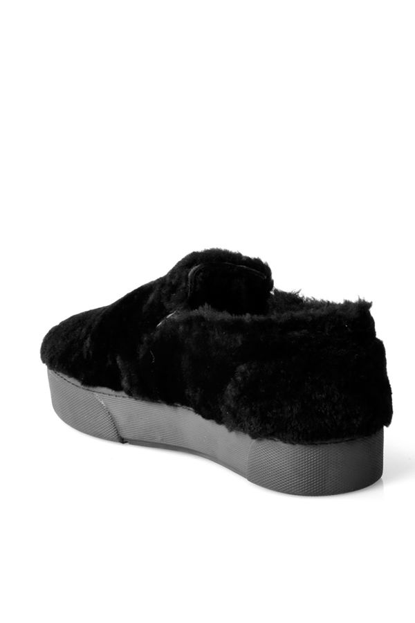 Pegia Women Sneakers From Genuine Fur Black