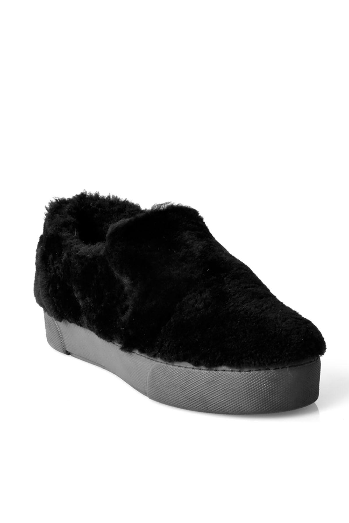 Pegia Hakiki Kürklü Bayan Sneaker  Siyah