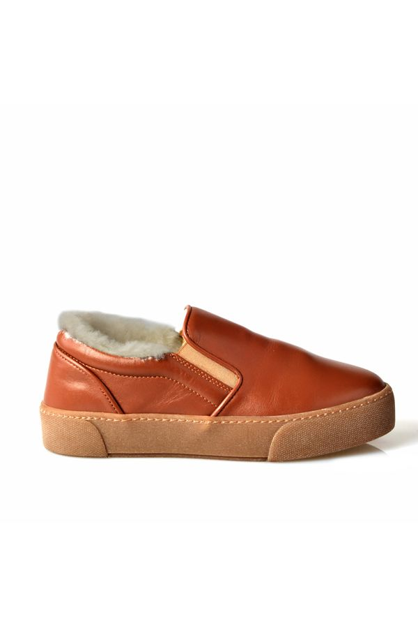 Pegia Women Sneakers From Genuine Leather And Fur Brown