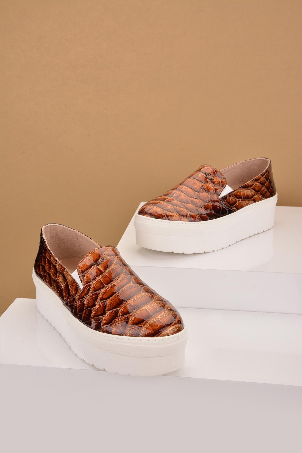 Art Goya High-Soled Women Sneakers From Genuine Leather With Crocodyle Pattern Brown