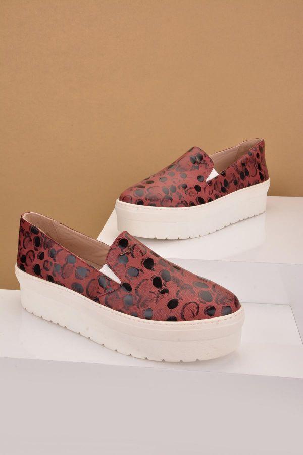 Art Goya Hakiki Deri Yüksek Taban Bayan Sneaker  Bordo