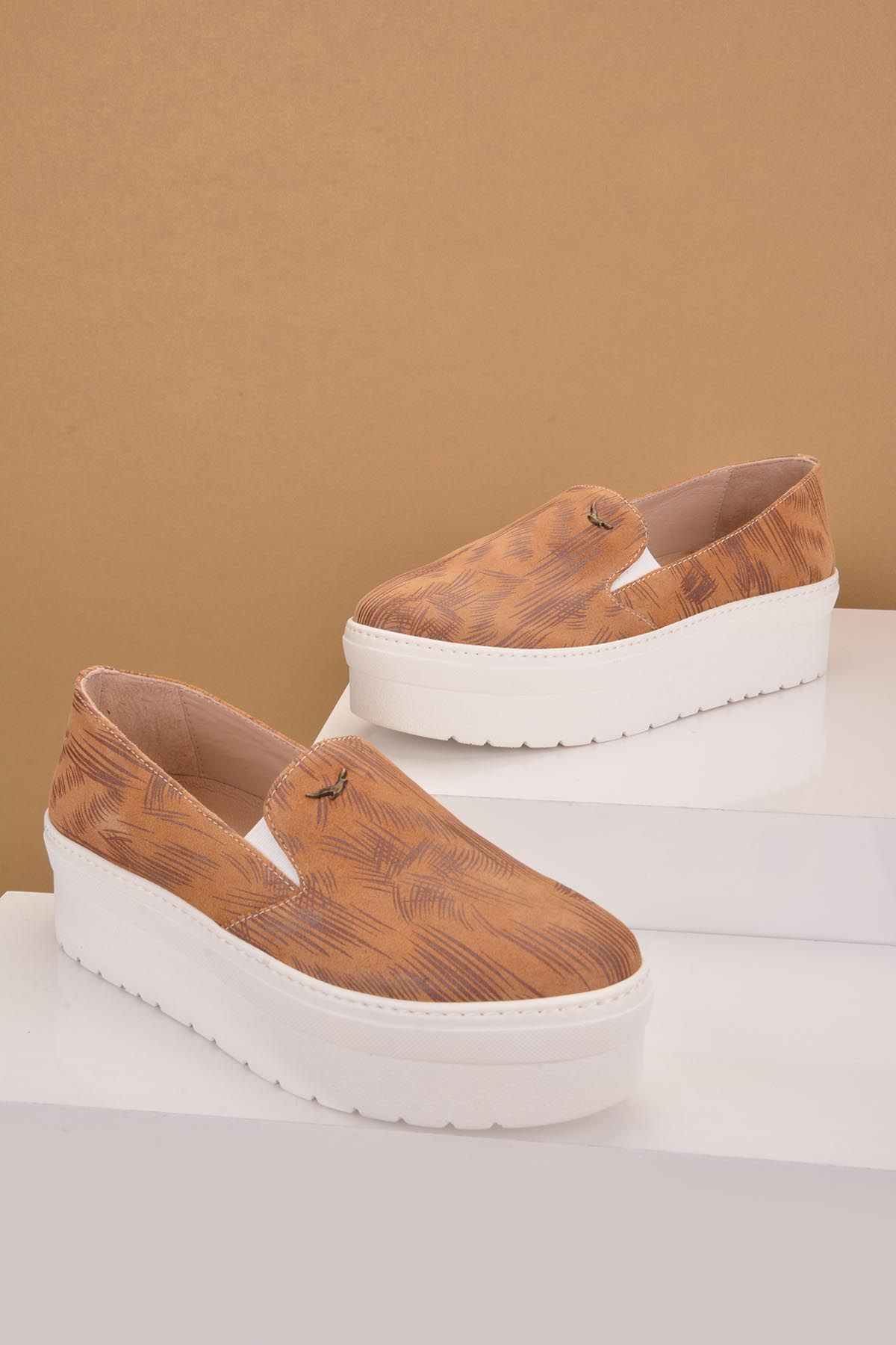 Art Goya High-Soled Women Sneakers From Genuine Leather With Pattern Brown