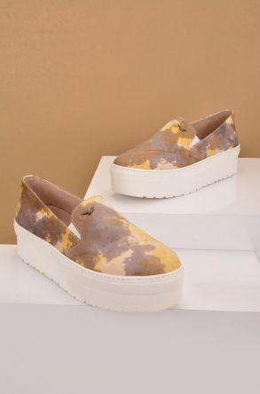 Art Goya Hakiki Deri Yüksek Taban Kadın Sneaker Sarı