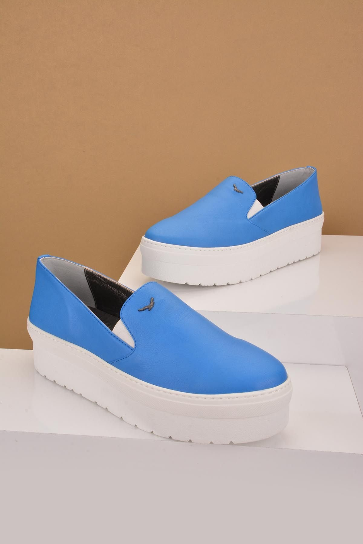 Art Goya High-Soled Women Sneakers From Genuine Leather Blue
