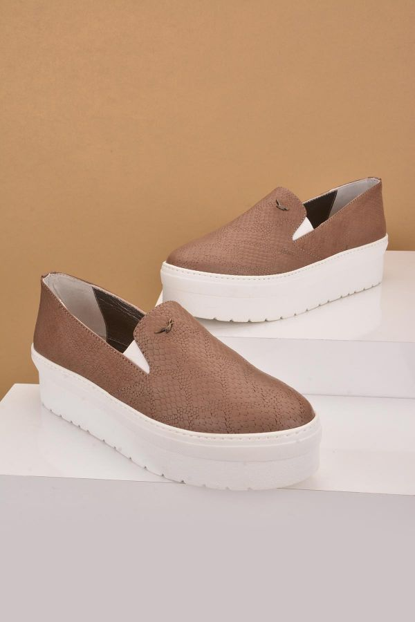 Art Goya High-Soled Women Sneakers From Genuine Leather With Pattern Mink