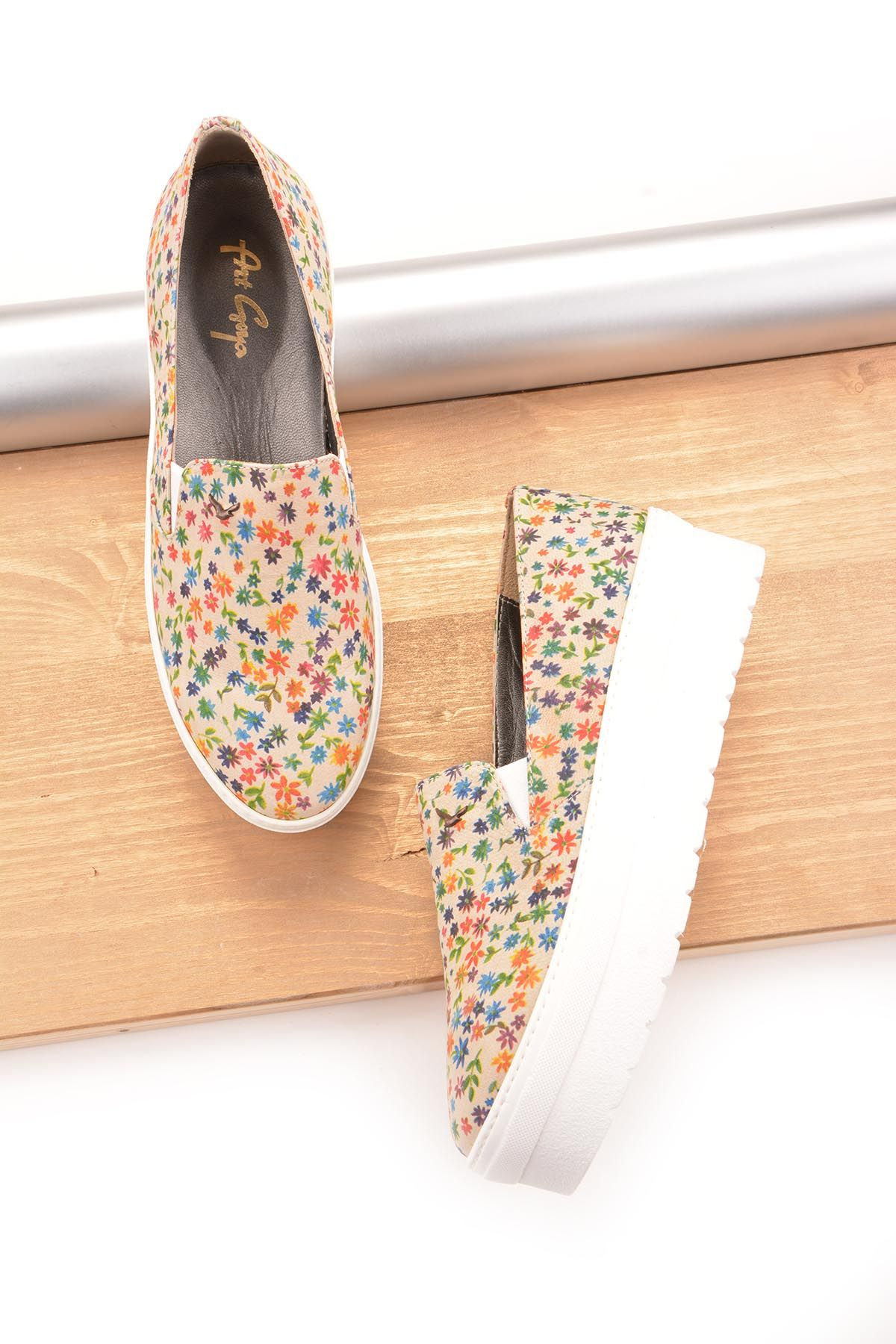 Art Goya High-Soled Women Sneakers From Genuine Leather With Flower Pattern Beige