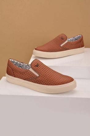 Art Goya Women Sneakers From Genuine Leather Wıth Braided Pattern Ginger