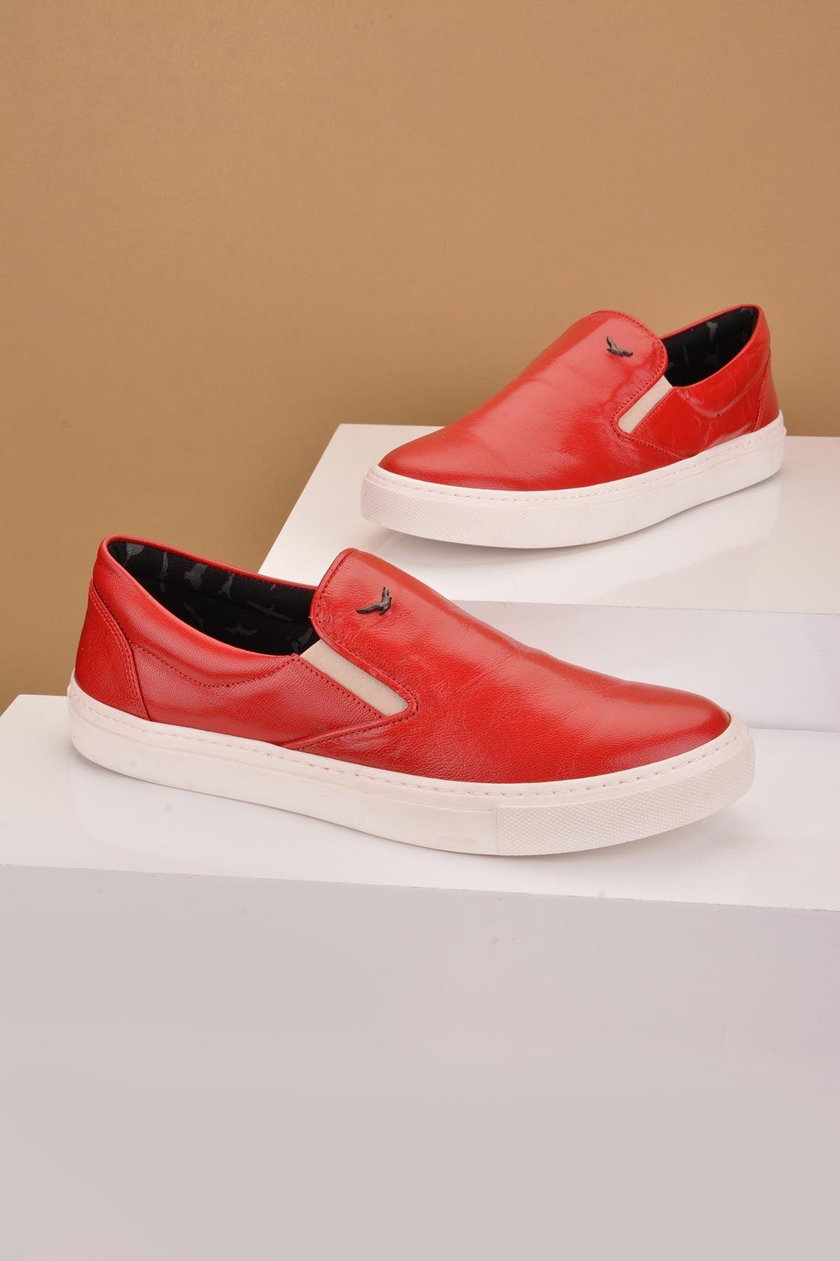 Art Goya Hakiki Deri Bayan Sneaker  Kırmızı