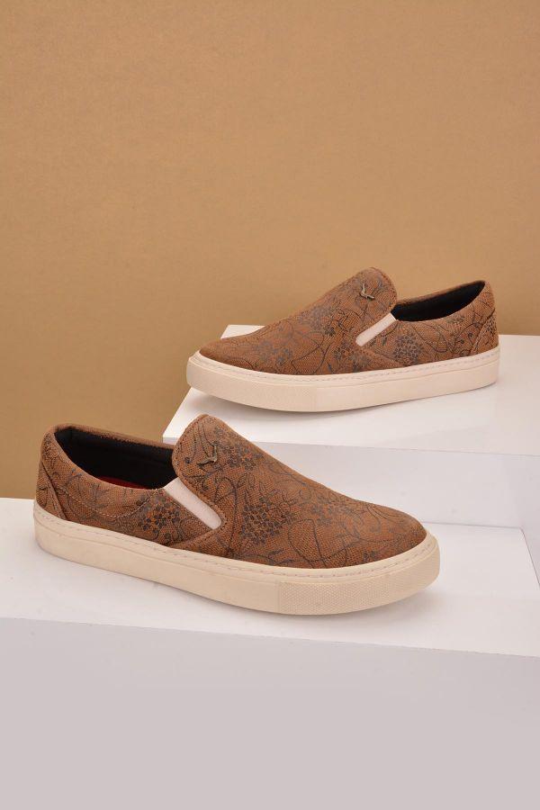 Art Goya Patterned Women Sneakers From Genuine Leather Brown