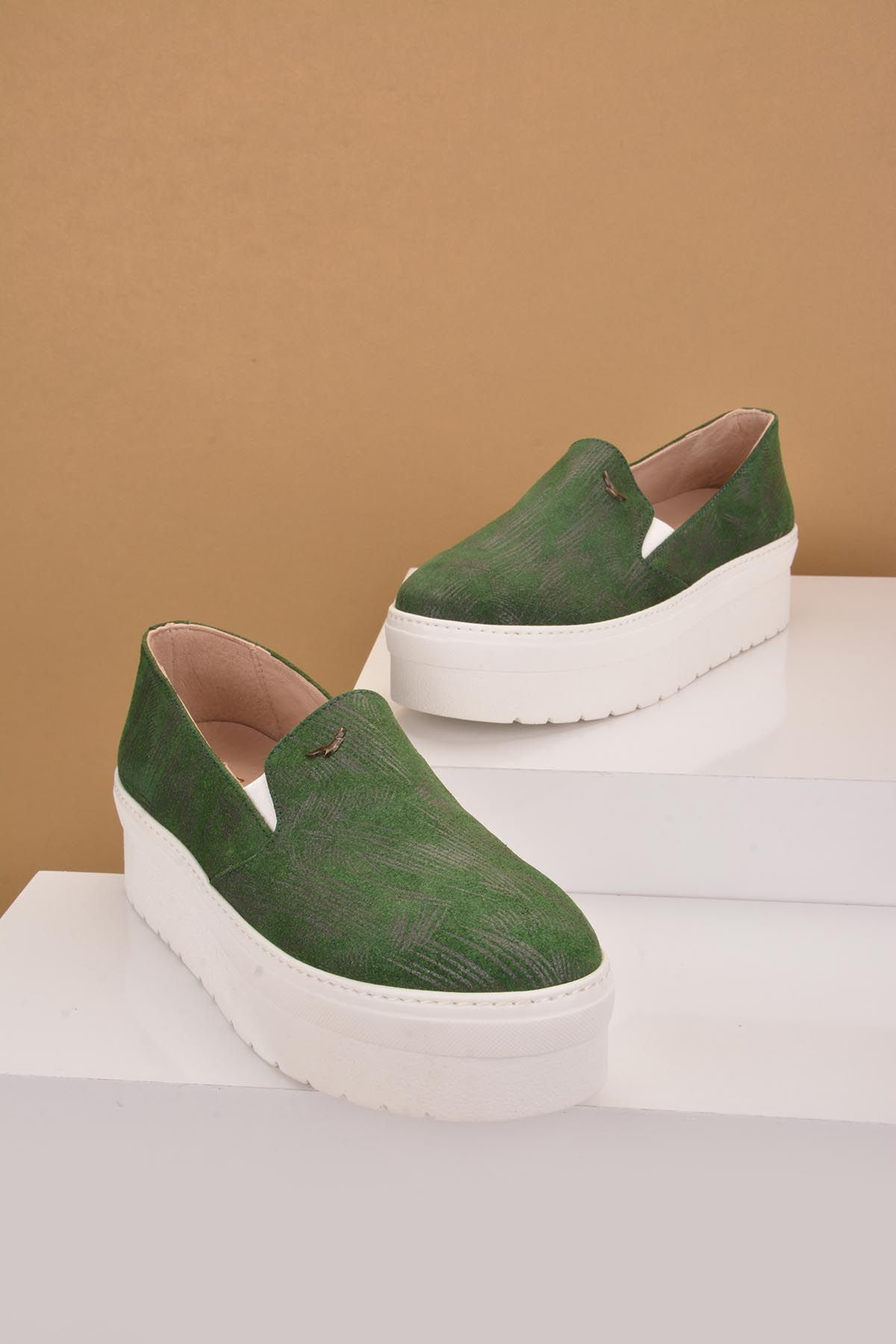Art Goya High-Soled Women Sneakers From Genuine Leather Green