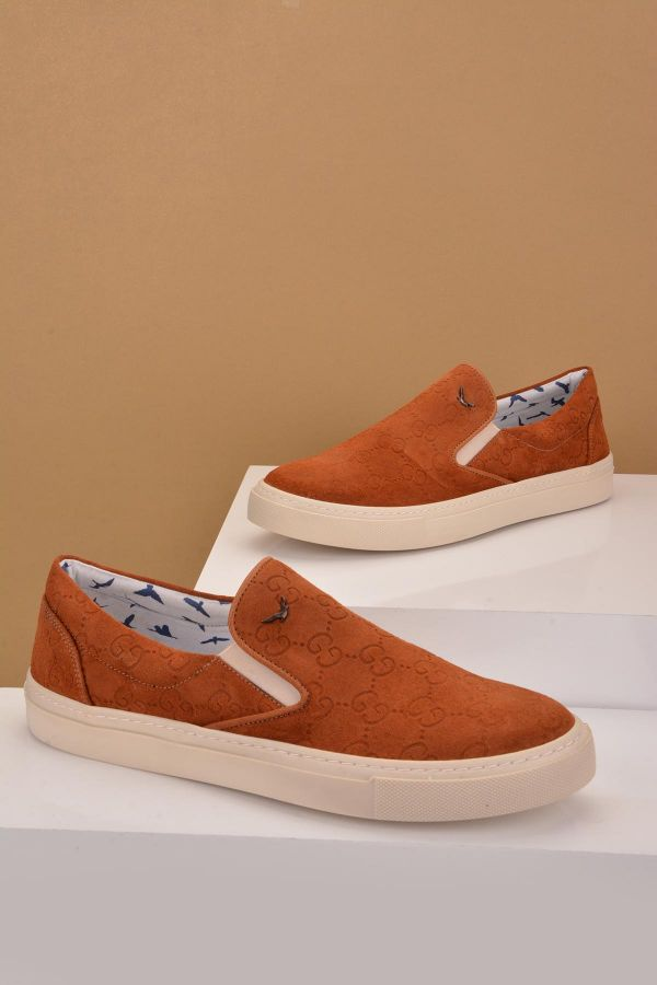 Art Goya Patterned Women Sneakers From Genuine Leather Ginger
