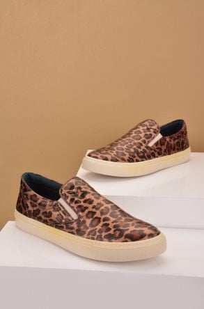 Art Goya Women Sneakers From Genuine Leather With Leopard Pattern Brown