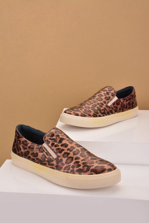 Art Goya Women Sneakers From Genuine Leather With Leopard Pattern Brown