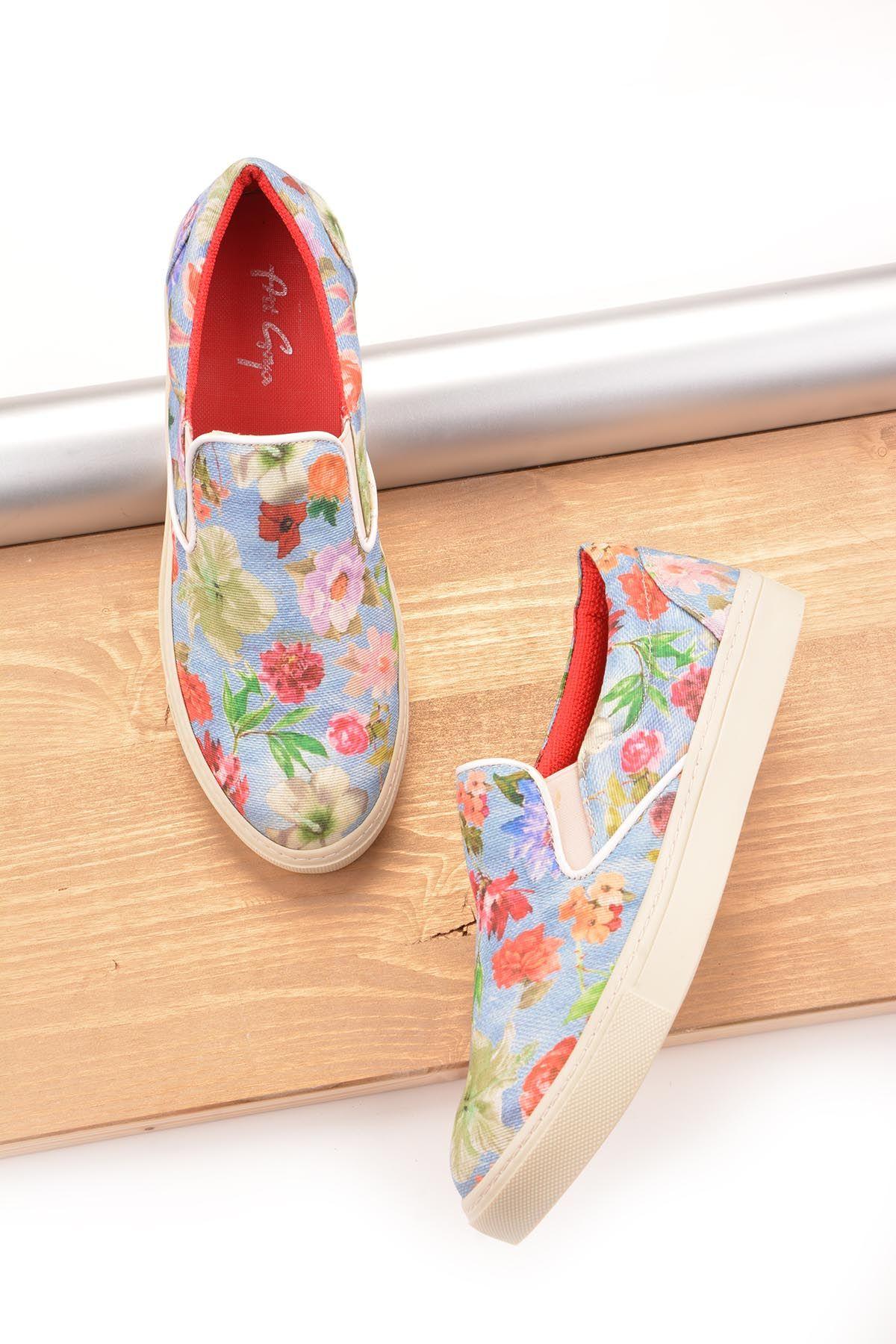 Art Goya Çiçek Desenli Bayan Sneaker  Mavi