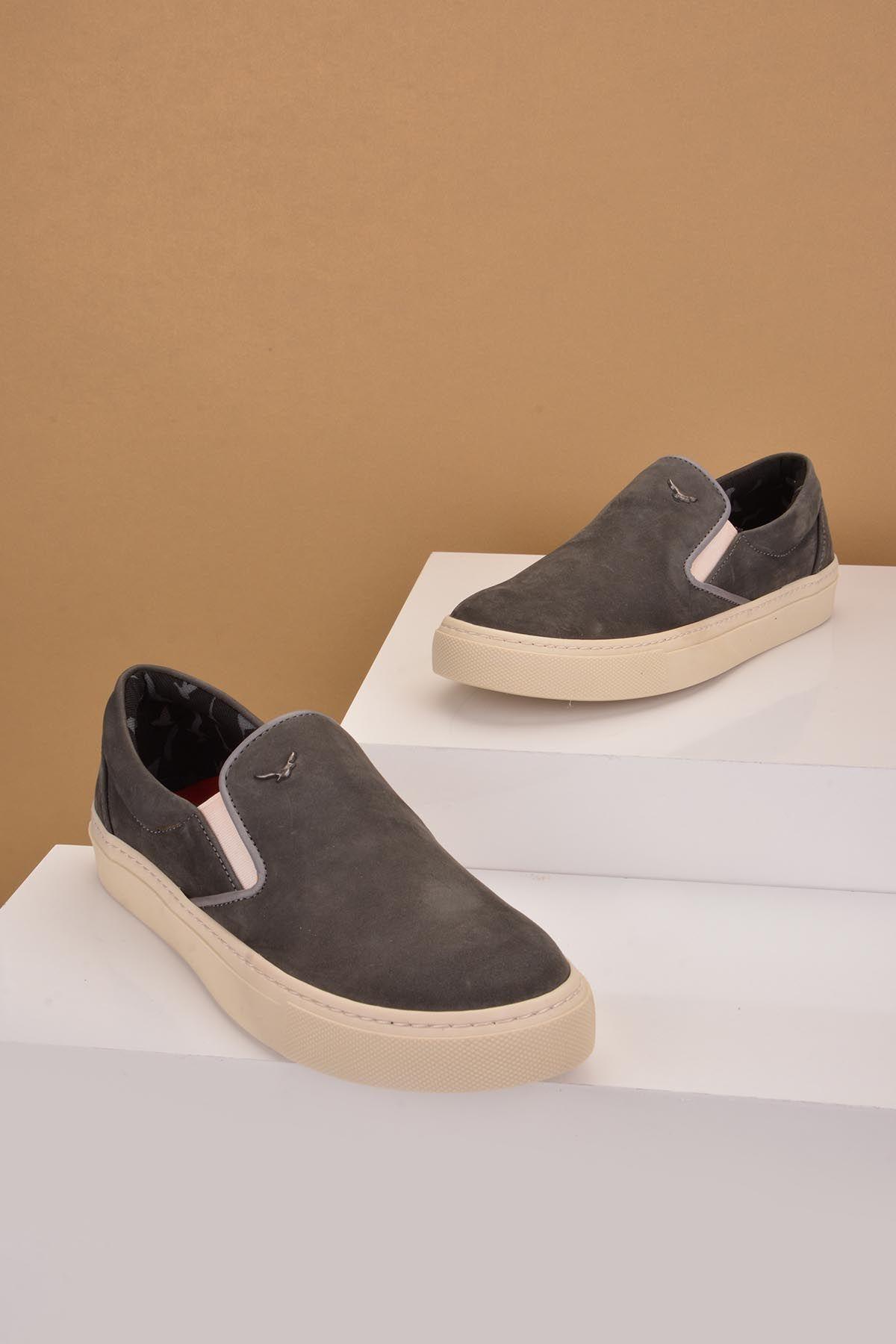 Art Goya Hakiki Nubuk Deri Bayan Sneaker  Gri