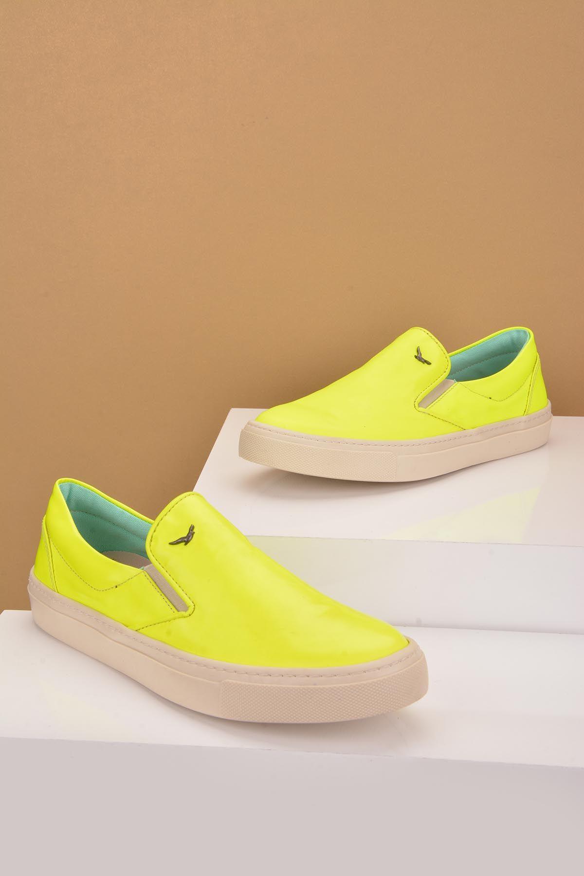 Art Goya Hakiki Deri Bayan Sneaker  Sarı