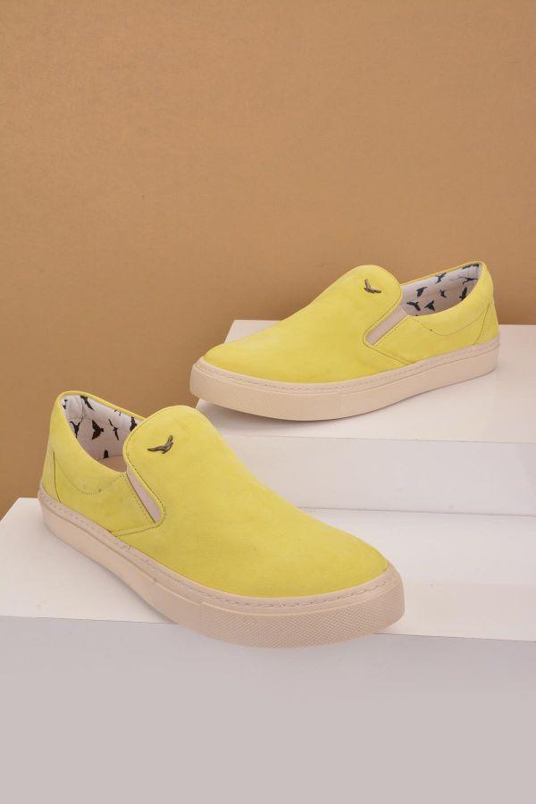 Art Goya Hakiki Deri Kadın Sneaker  Sarı