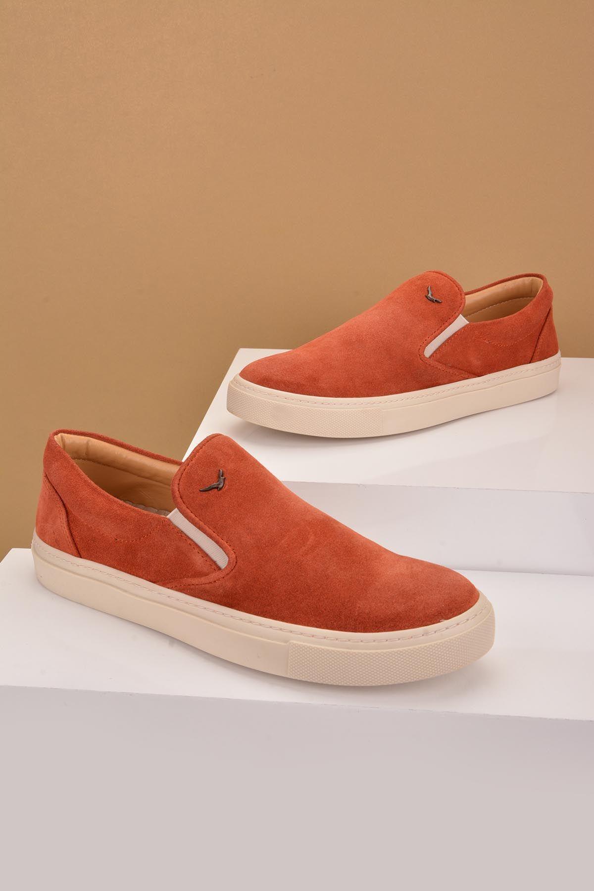 Art Goya Hakiki Nubuk Deri Bayan Sneaker Kiremit