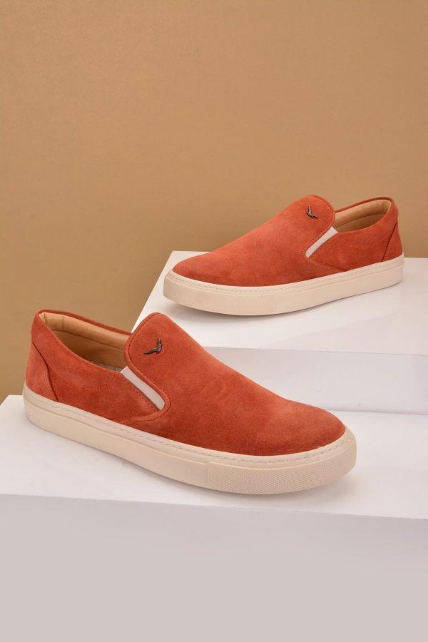 Art Goya Women Sneakers From Genuine Nubuck Brick-red