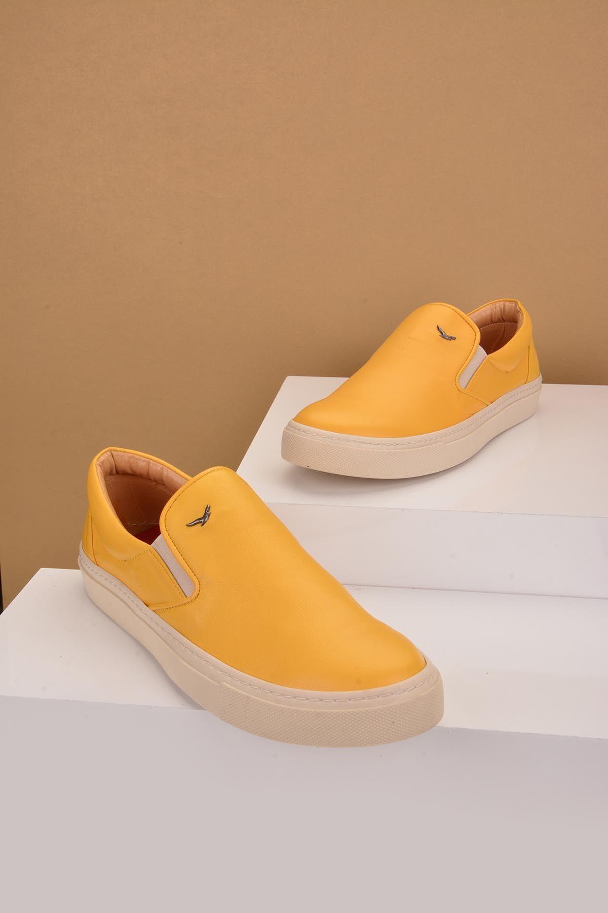 Art Goya Women Sneakers From Genuine Leather Yellow