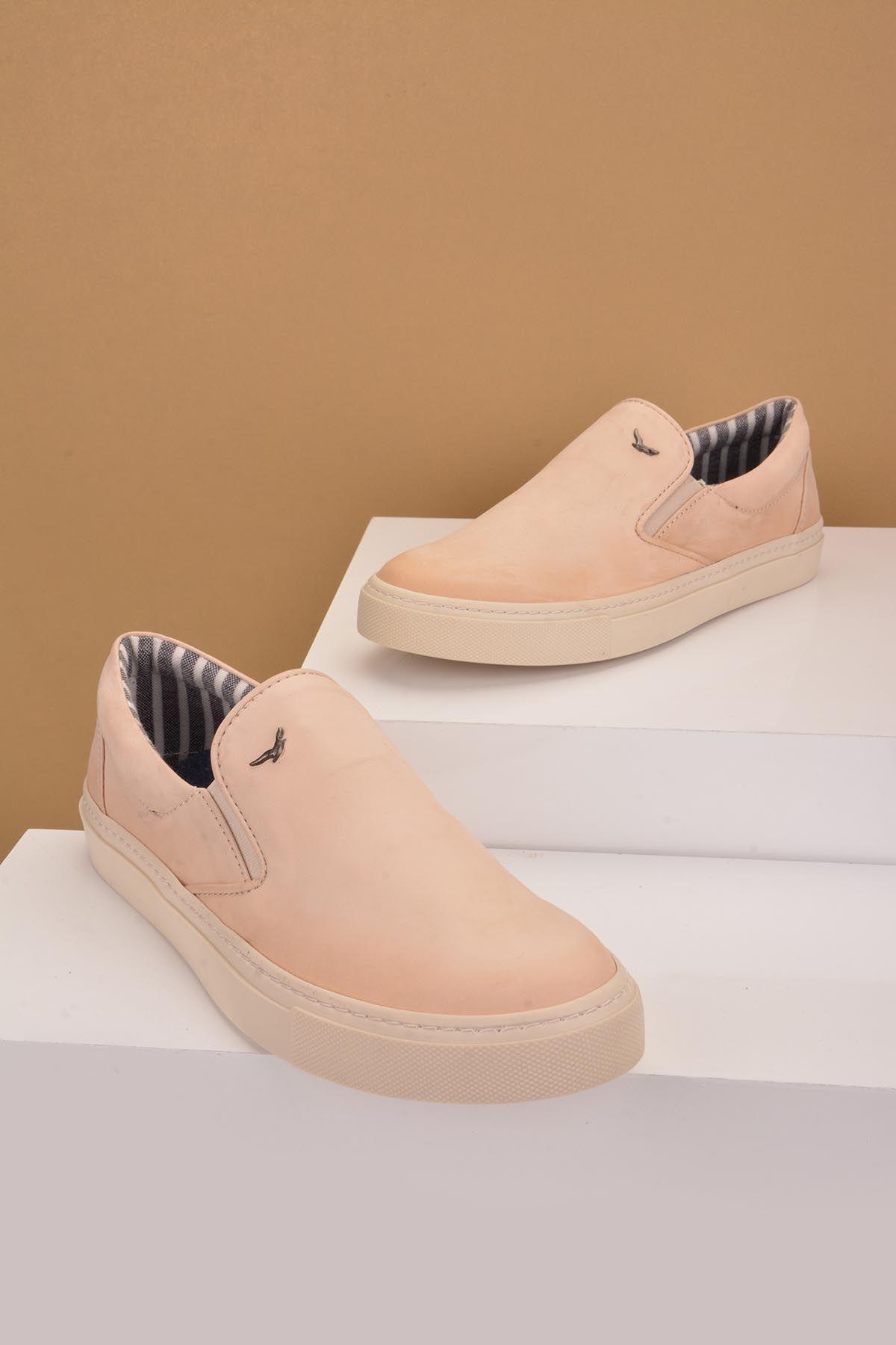 Art Goya Hakiki Deri Bayan Sneaker  Bej