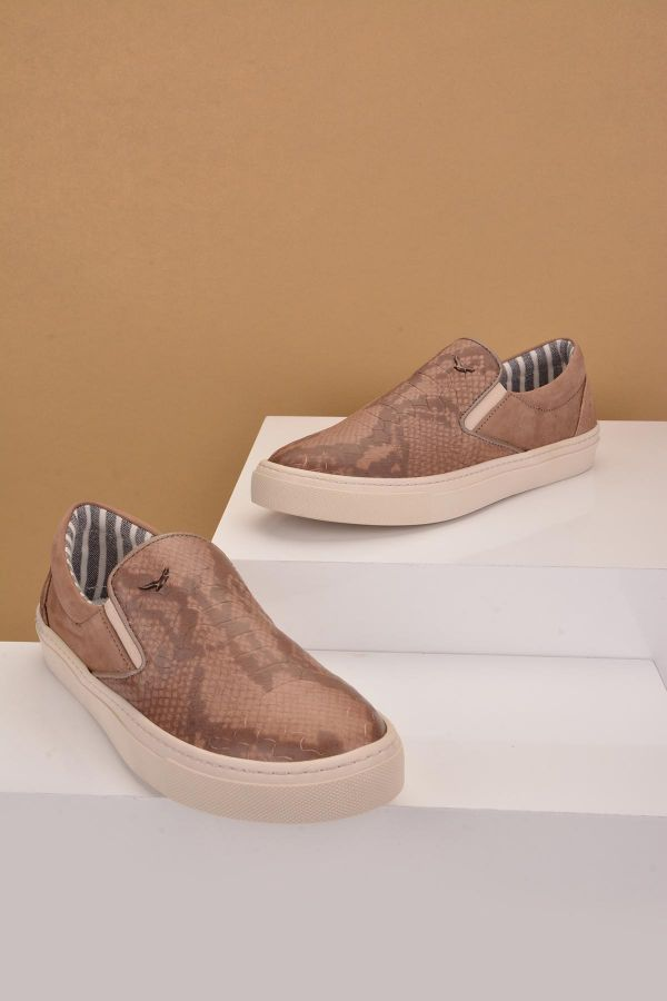Art Goya Women Sneakers From Genuine Leather With Crocodile Printing Mink