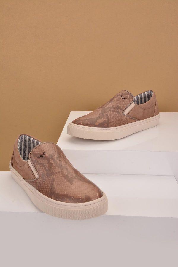 Art Goya Hakiki Deri Timsah Desen Kadın Sneaker  Vizon