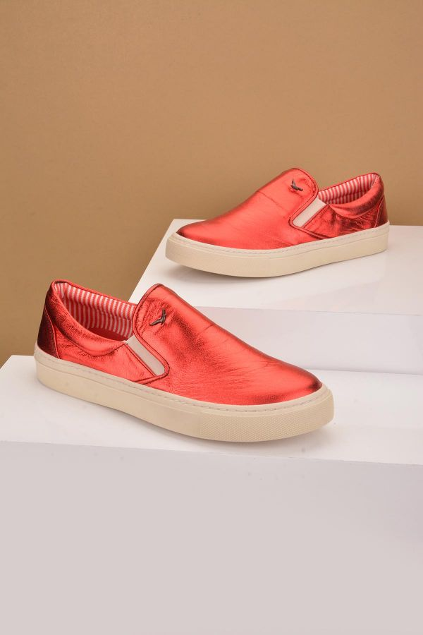 Art Goya Women Sneakers From Genuine Leather Red