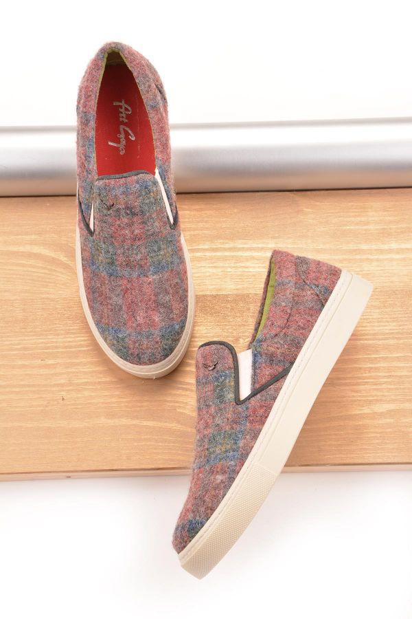 Art Goya Ekose Kaşmir Kumaş Kadın Sneaker  Bordo