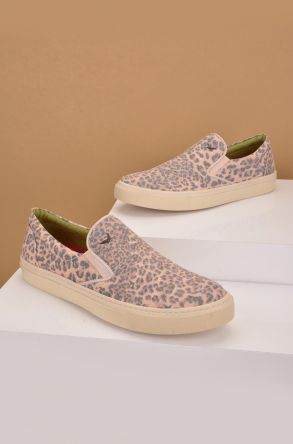 Art Goya Women Sneakers From Linen With Leopard Printing Powdery
