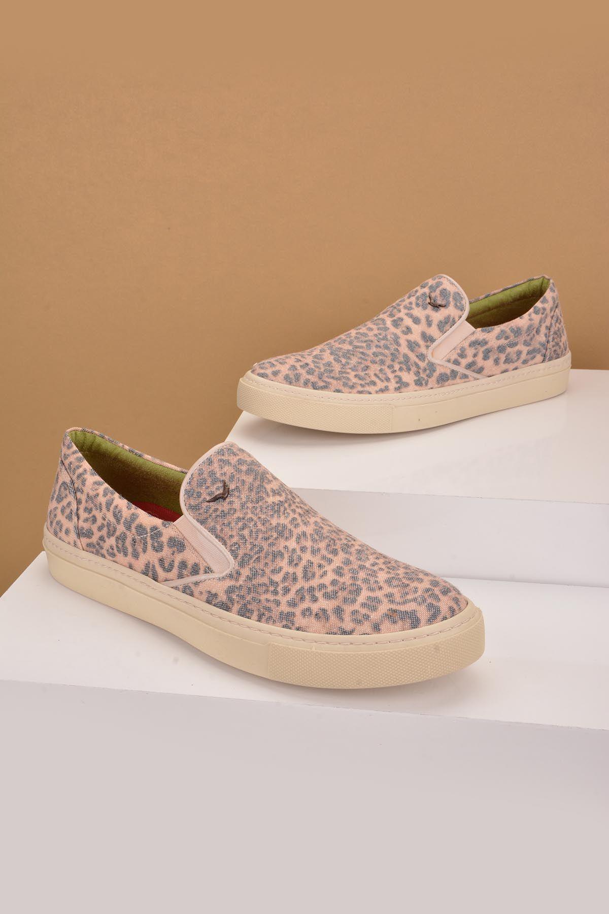 Art Goya Women Sneakers From Linen With Leopard Printing Powdery