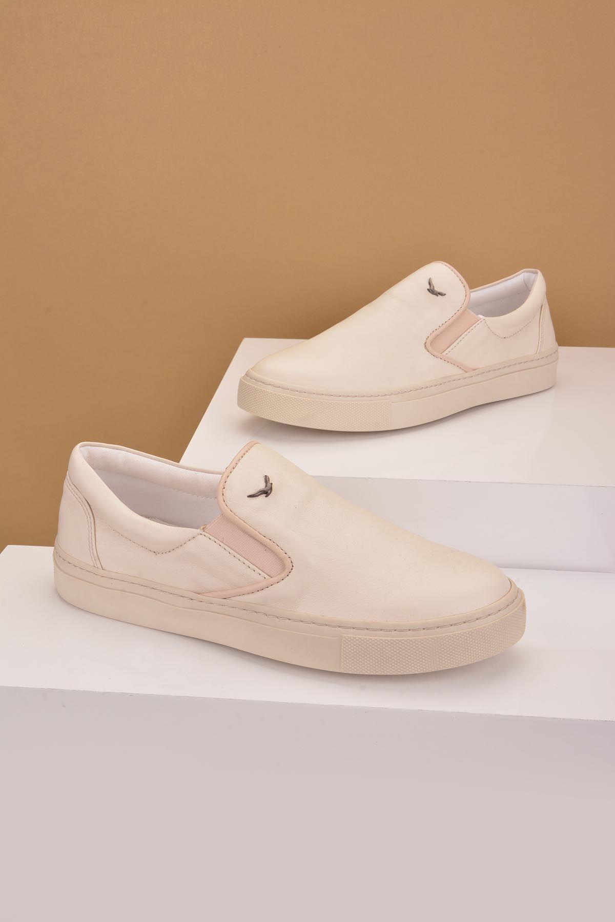 Art Goya Hakiki Deri Bayan Sneaker  Krem
