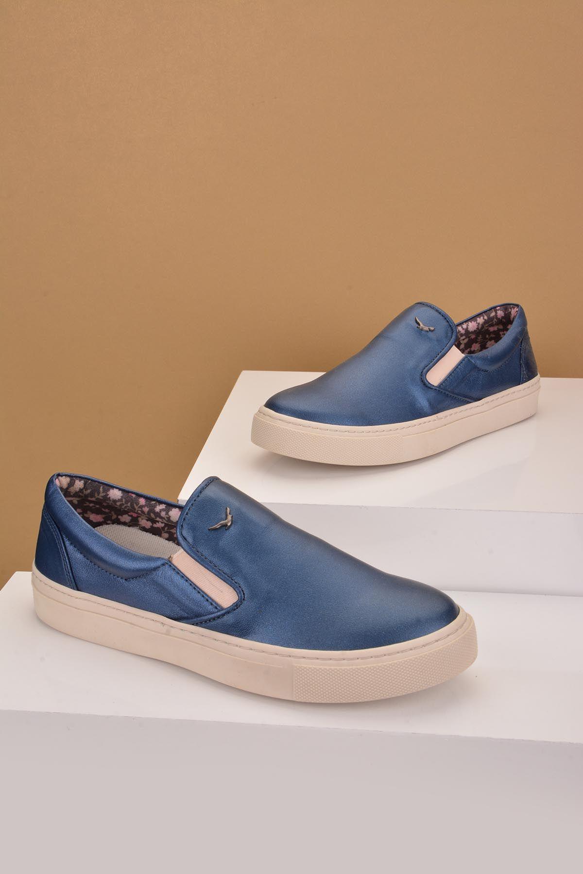 Art Goya Hakiki Deri Bayan Sneaker  Lacivert