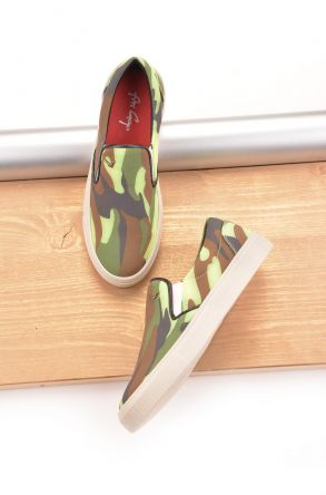 Art Goya Women Sneakers With Camouflage Pattern Green