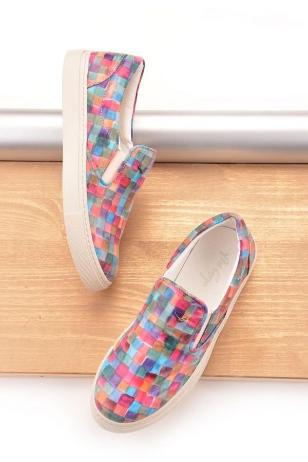 Art Goya Women Sneakers From Genuine Leather Rainbow-hued