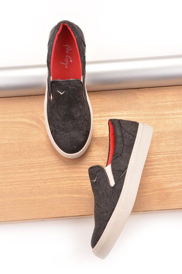 Art Goya Simli Keten Bayan Sneaker  Siyah