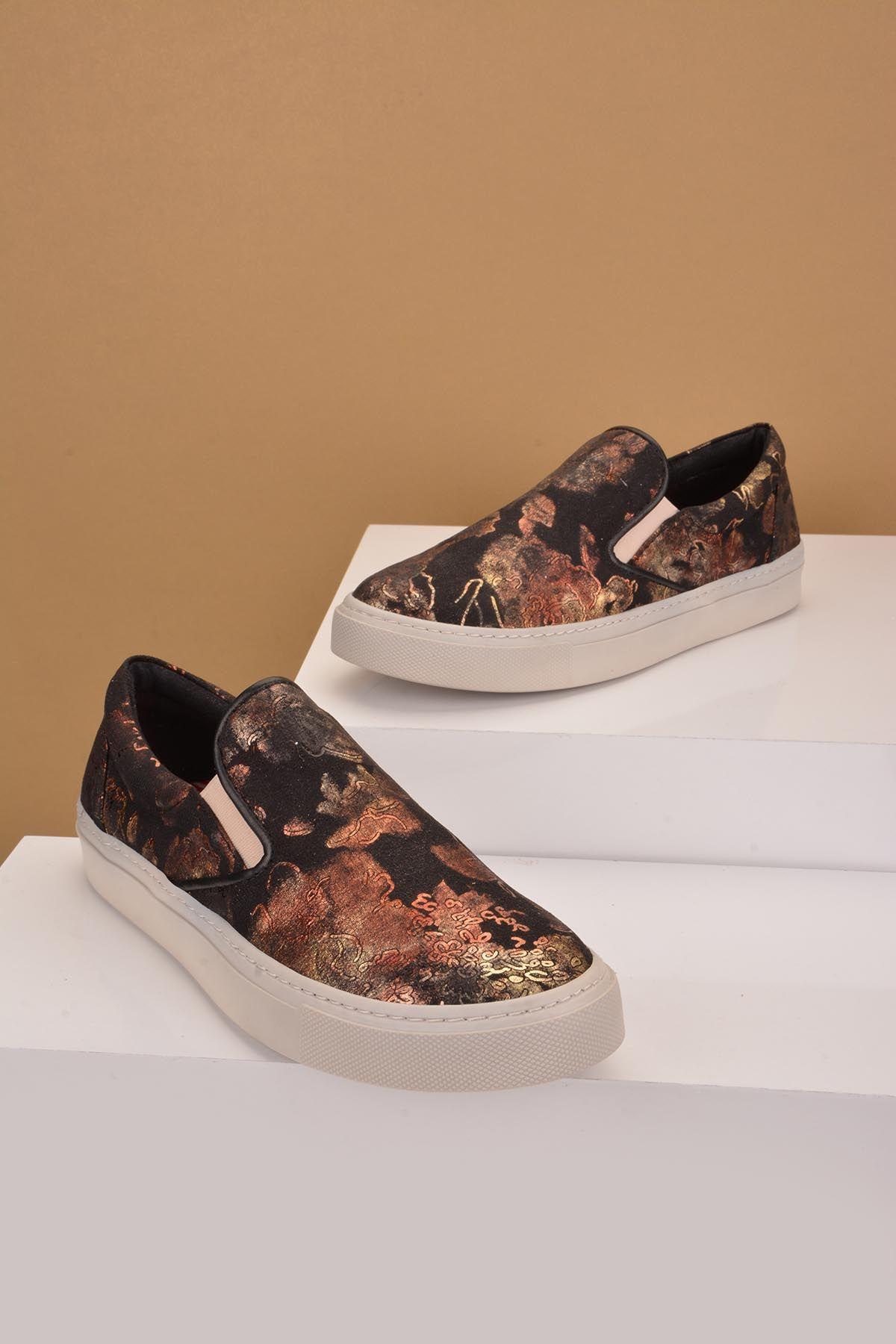 Art Goya Desenli Bayan Sneaker  Siyah