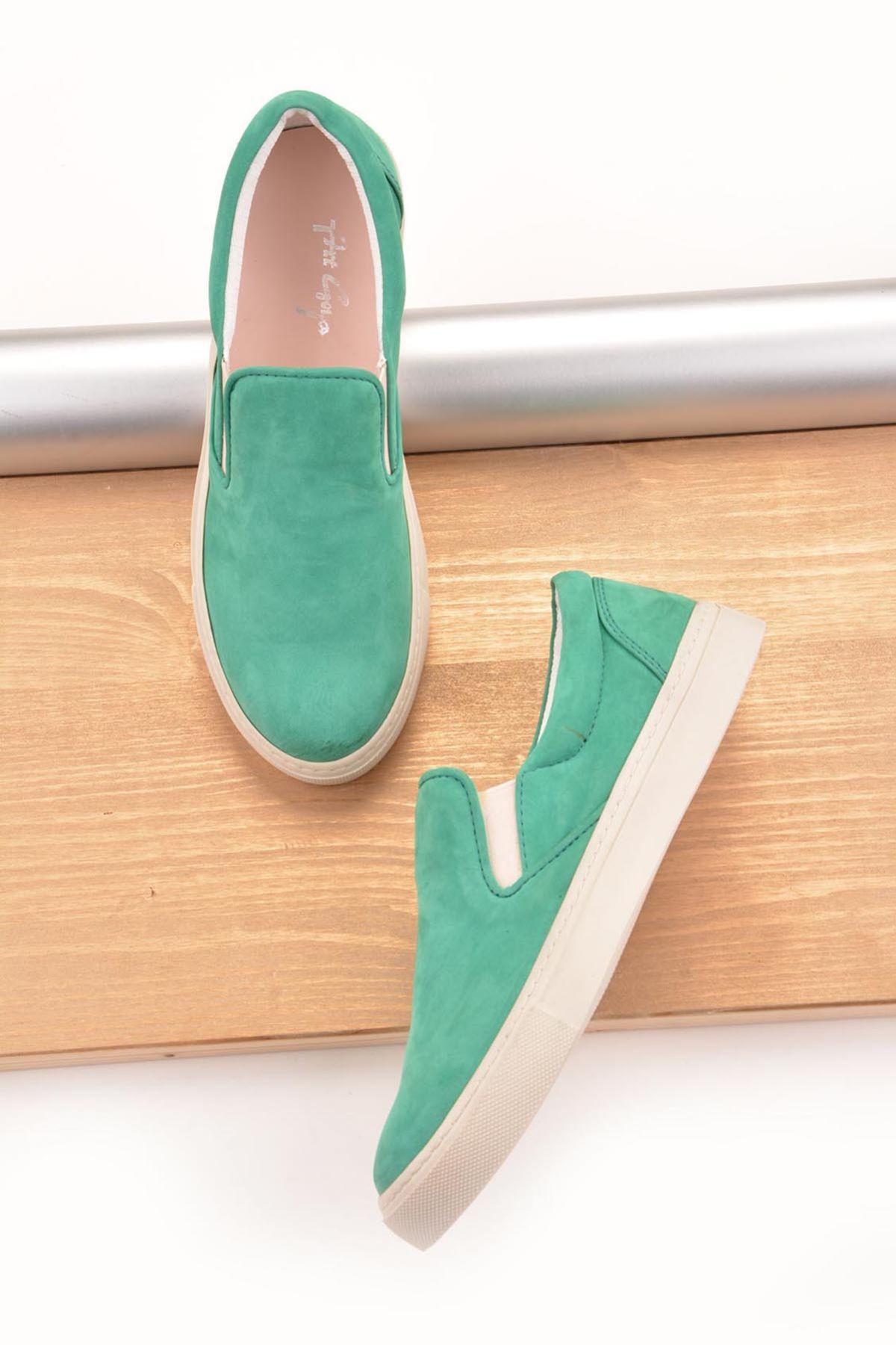 Art Goya Women Sneakers From Genuine Nubuck Green