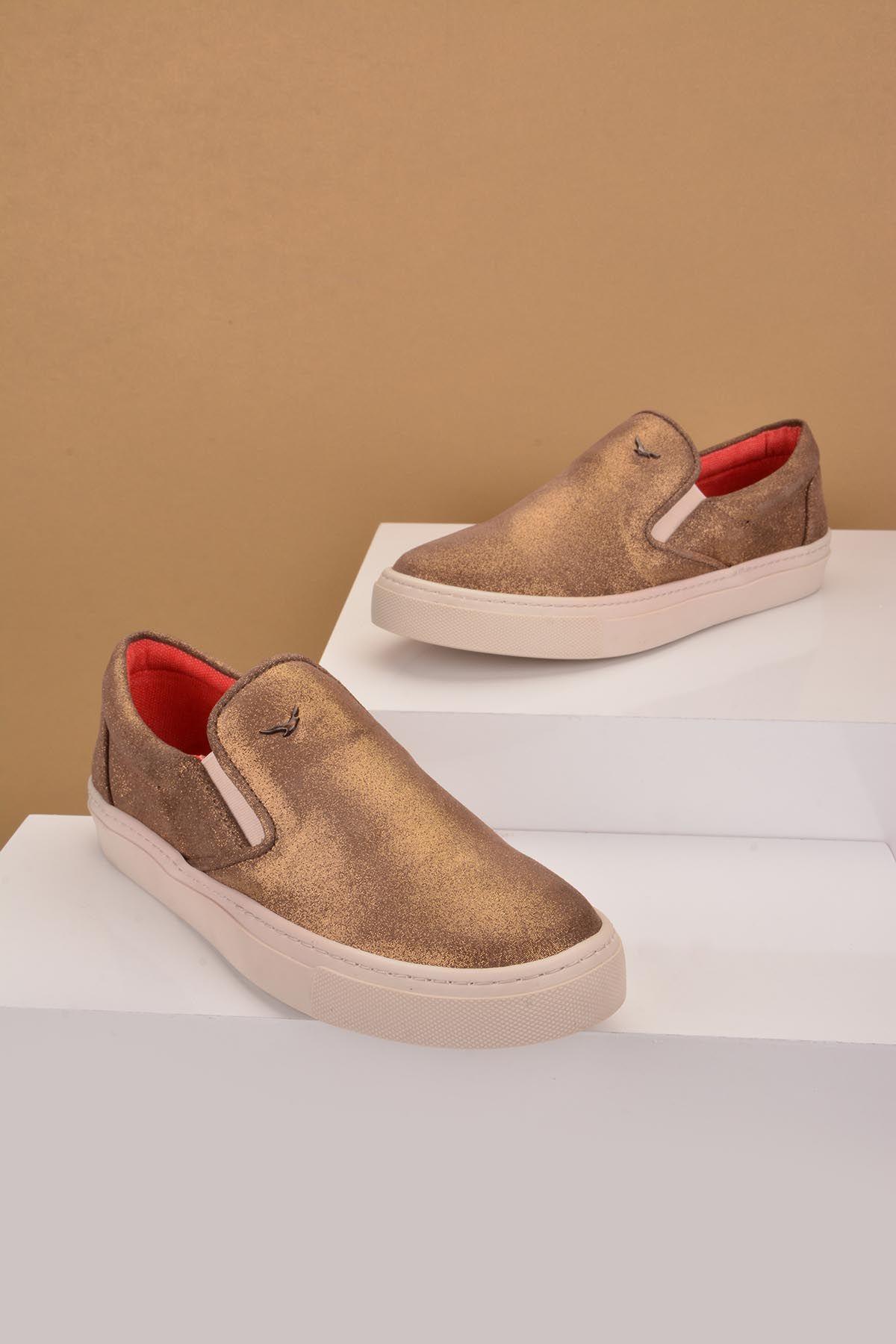 Art Goya Hakiki Deri Simli Bayan Sneaker  Vizon