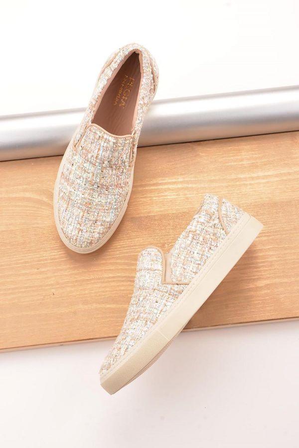 Pegia İçi Deri Chanel Kumaş Kaplamalı Sneaker  Krem