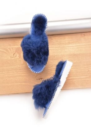 Pegia Port Pelle Women Slippers From Genuine Fur Navy blue