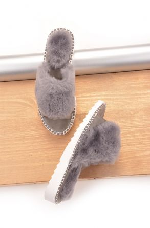 Pegia Port Pelle Women Slippers From Genuine Fur Gray