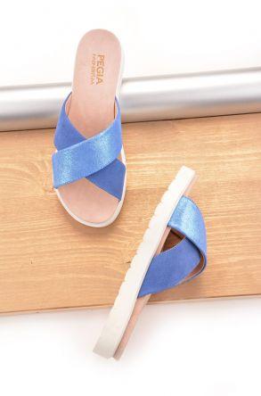 Pegia La Ferme Hakiki Deri Kadın Terlik Mavi