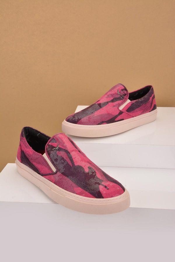 Art Goya Kamuflaj Desen Kadın Sneaker  Fuşya