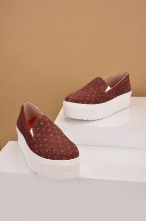Art Goya High-Soled Women Sneakers From Genuine Leather Claret red