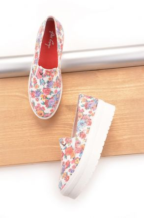 Art Goya High-Soled Women Sneakers With Flower Pattern White