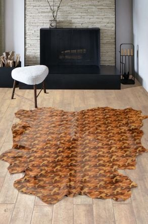 Erdogan Deri Calfskin Rug With Camouflage Pattern Brown
