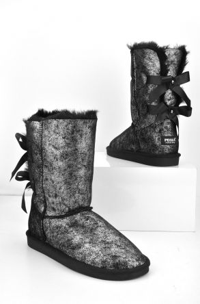Pegia Women Uggs From Genuine Fur Decorated With Bows Silver